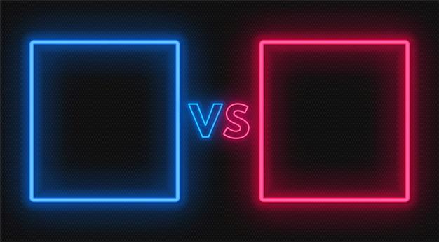 Versus bildschirm mit neonrahmen und vs zeichen. konfrontationsdesign.