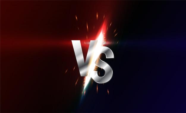 Versus bildschirm. vs kampf schlagzeile, konfliktduell zwischen roten und schwarzen teams. konfrontationskampfwettbewerb.