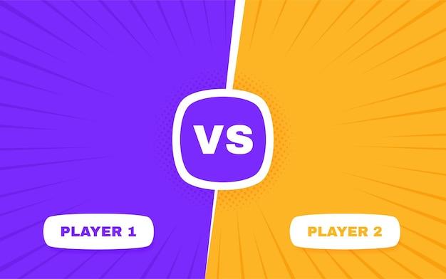 Versus bildschirm. vs kampf zwischen spieler 1 und spieler 2. konfrontationskampfwettbewerb.