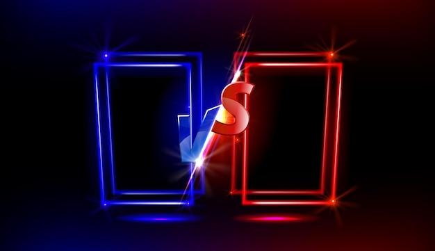 Versus bildschirmdesign mit glänzenden neonrahmen für spielkämpfe