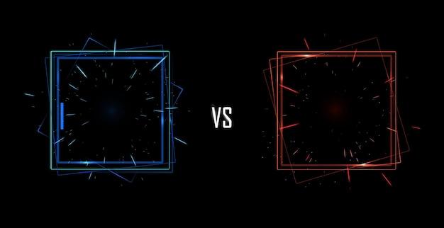 Versus bildschirmkonzept. neon-futuristische ankündigung einer vektorillustration mit zwei spielern