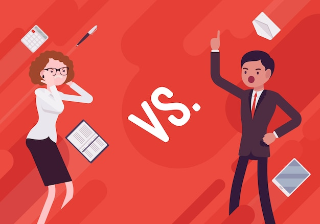 Versus business demotivation illustration