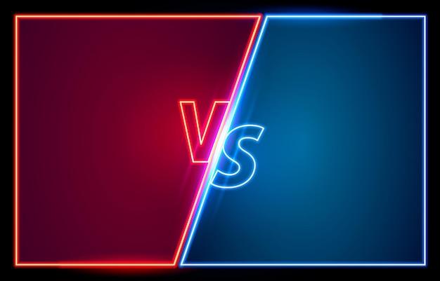 Versus game cover, neon-banner-sport vs, team-konzept