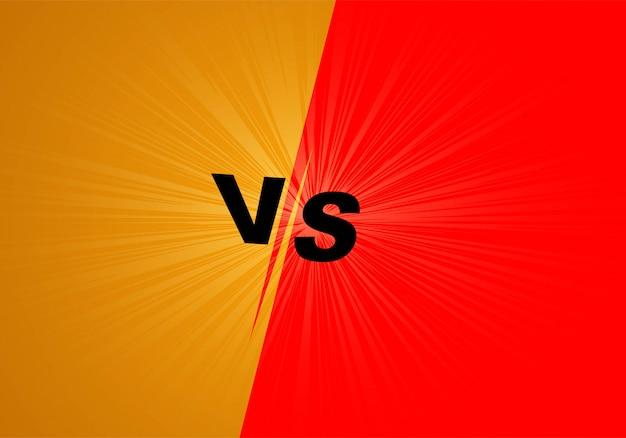 Versus kampfbildschirm hintergrund orange und rot