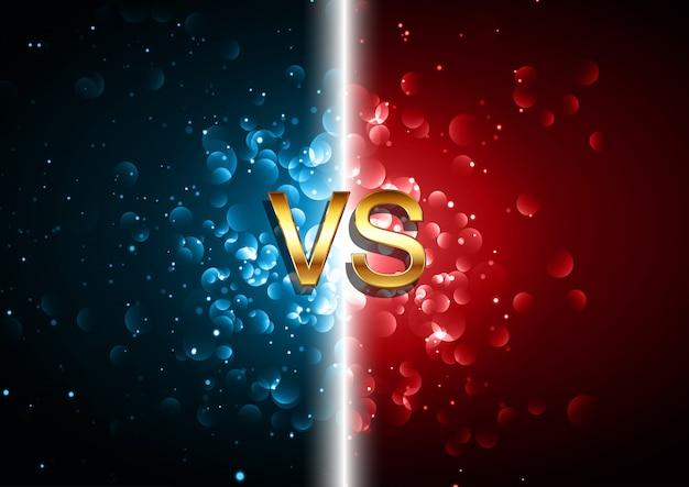 Versus kampfbildschirmhintergrund mit rotem und blauem bokeh beleuchtet design