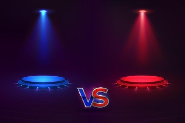 Versus konzept. leuchtendes sockelhologramm, spielmatch-mma-wettbewerbswettbewerb. versus meisterschaftsvorlage