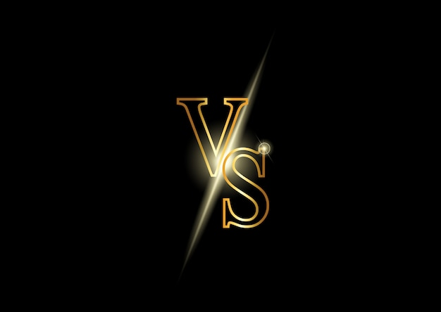 Versus luxusgoldbuchstaben. leuchtendes wettbewerbssymbol.