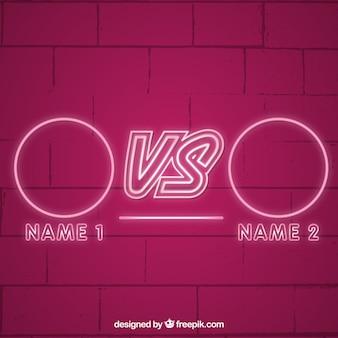 Versus neon hintergrund mit videospiel-stil