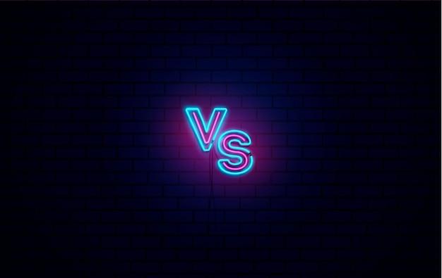 Versus schlacht, bildschirm mit neon vs.