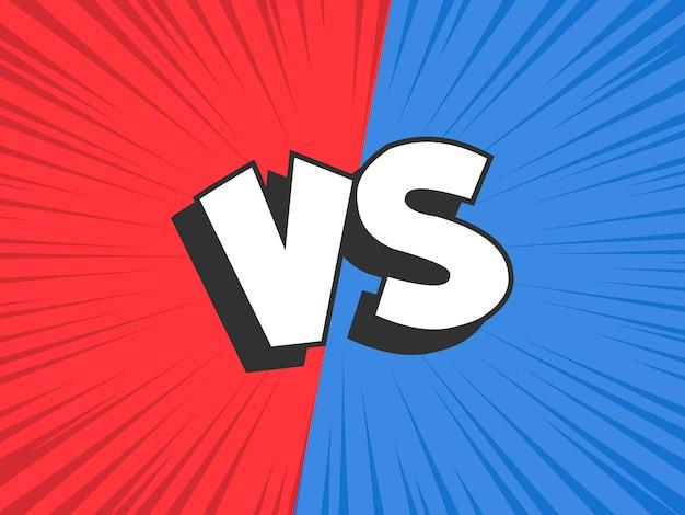 Versus vergleiche. rot gegen blauen kampfkonfliktrahmen, konfrontationszusammentreffen und kampfkomik