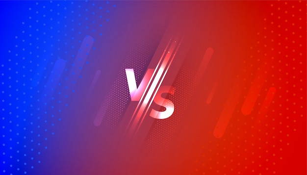 Versus vs bildschirmbanner im roten und blauen farbverlauf