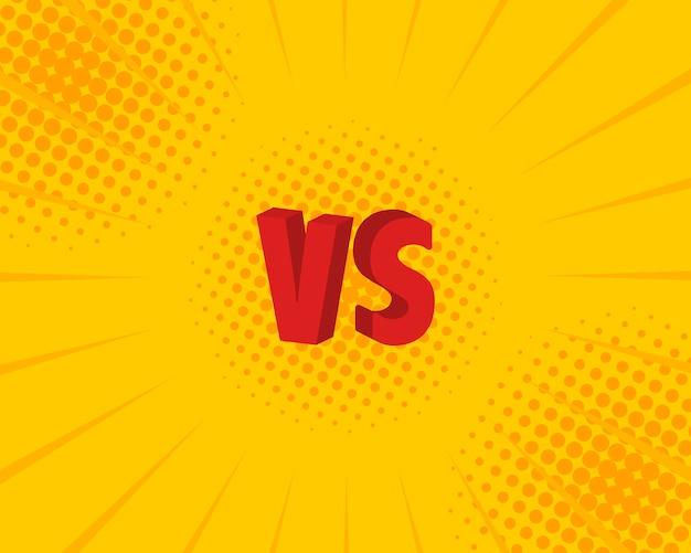 Versus vs buchstabenkämpfe im flachen comic-stil. illustration