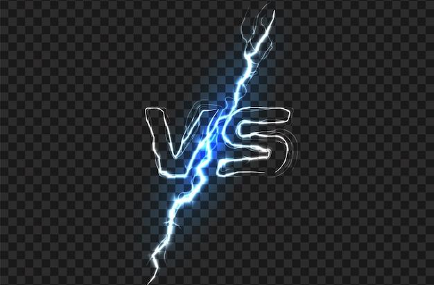 Versus vs logo battle schlagzeile vorlage funkelndes blitzdesign isolierte vektorillustration auf