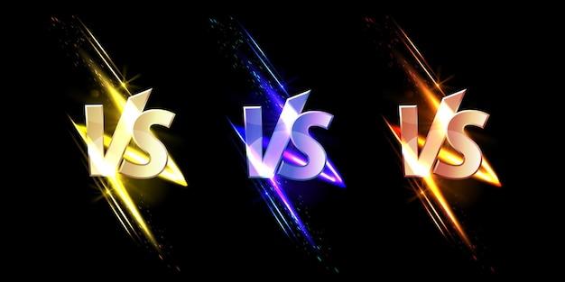 Versus vs zeichen mit glühen und funken spiel oder sport konfrontationssymbole auf schwarz mit leuchtenden glitzern kampfkunst kampf kampf kampf wettbewerb herausforderung realistischen satz