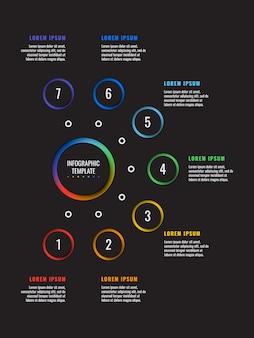 Vertikale 7 schritte infographik vorlage mit runden papierschnittelementen auf schwarz