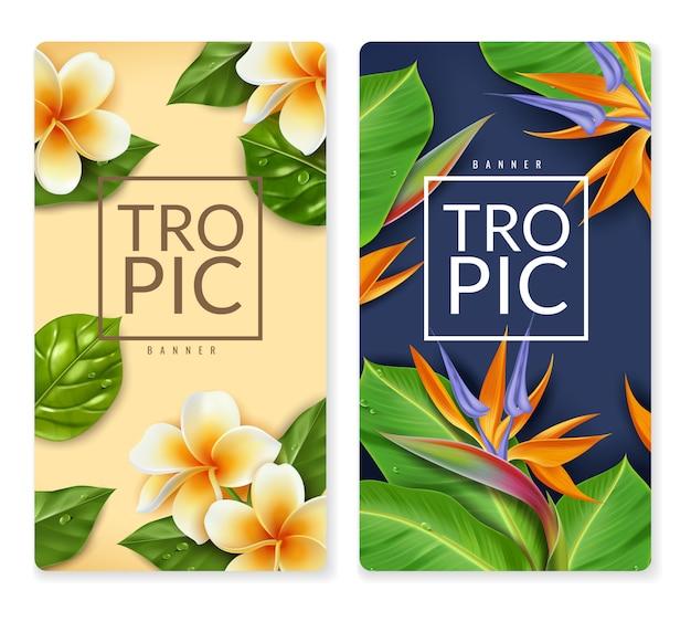 Vertikale banner der raelistischen exotischen blumen. zwei vertikale banner mit tropischem blumen- und blattstrauß exotisches laub im realistischen stil