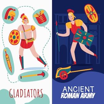 Vertikale banner des alten romimperiums, die mit kriegern gesetzt werden