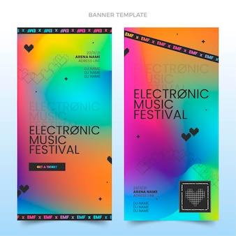 Vertikale banner des bunten musikfestivals mit farbverlauf