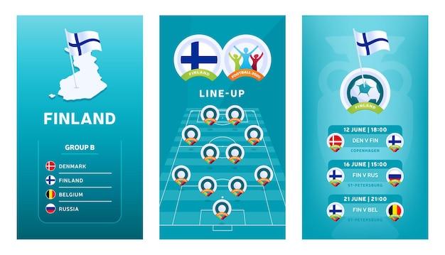 Vertikale banner des europäischen fußballs 2020 für soziale medien
