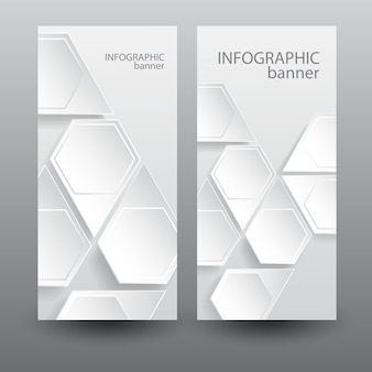 Vertikale banner des infografikgeschäfts mit sechseckigen elementen des leichten netzes