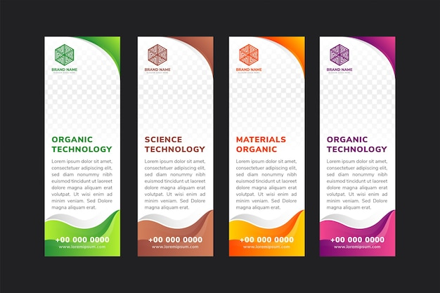Vertikale banner design vorlage für technologie.