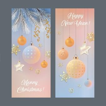 Vertikale banner für frohe weihnachten und ein gutes neues jahr