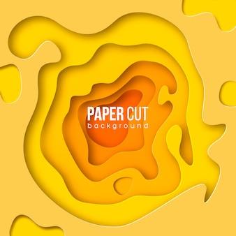 Vertikale banner mit abstraktem gelbem 3d-hintergrund mit papierschnittformen.