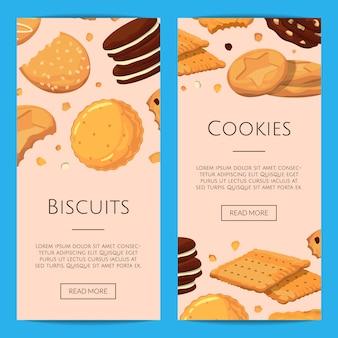 Vertikale banner mit cartoon cookies gesetzt