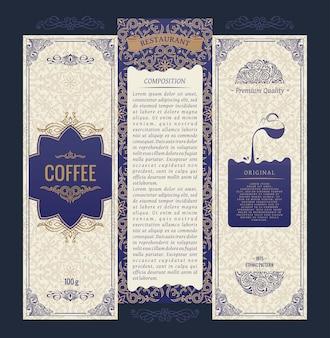 Vertikale banner-set von design-vintage-etiketten umrahmt verpackungsprodukt