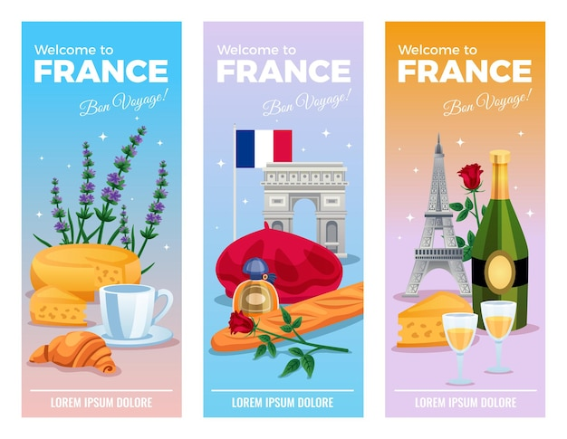 Vertikale bannerschablone frankreichs gesetzt mit besichtigungs- und nahrungsmittelsymbolen flach lokalisiert