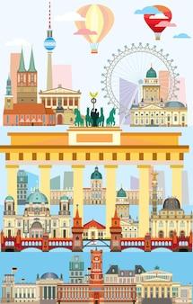 Vertikale berliner skyline reisevektorillustration mit den wichtigsten architektonischen wahrzeichen im flachen stil.