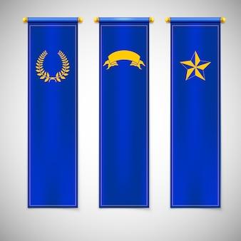 Vertikale blaue fahnen mit emblemen