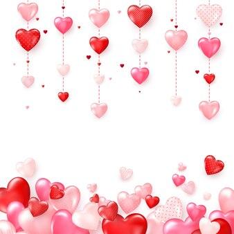 Vertikale bunte herzgirlanden. romantischer hintergrund des valentinstags. abbildung auf weiß isoliert