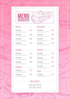 Vertikale desserts menüvorlage
