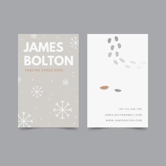 Vertikale doppelseitige visitenkarte mit flachem design