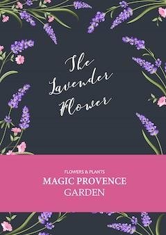 Vertikale einladungskarte. vertikale mit blumenschablone des designs mit blauem rahmen von blühenden blumen.