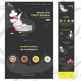 Vertikale fahne des küchen-netzes des chefs mit dem cartoonchefcharakter, der teller auf schwarzem und gegebenen dienstleistungen darstellt.
