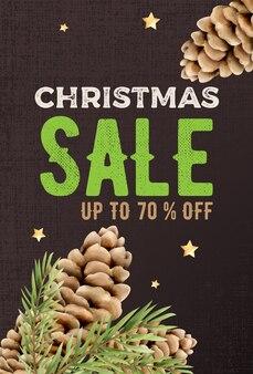 Vertikale fahne des weihnachtsverkaufs mit nadelbaumkegel