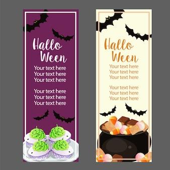 Vertikale fahne halloweens mit festlichkeiten und deviled eiern