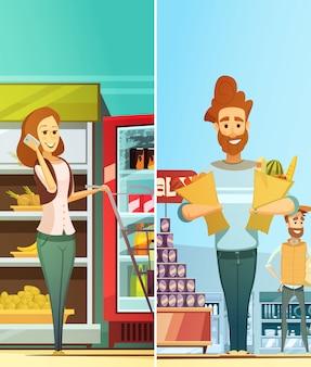 Vertikale fahnen der retro- karikatur des supermarktes stellten mit den glücklichen kunden ein, die lebensmittel kaufen