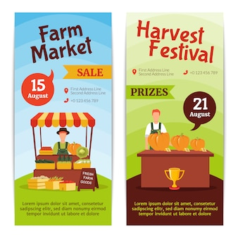 Vertikale fahnen des flachen designs, die august-bauernhofmarktverkauf darstellen