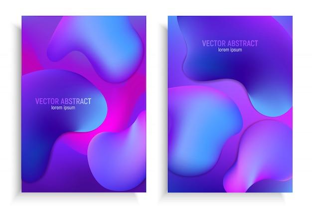 Vertikale fahnen stellten mit abstraktem hintergrund 3d mit blauem und purpurrotem wellenbewegungsfluß ein