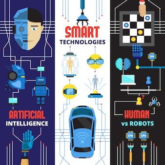 Vertikale fahnensammlung künstlicher intelligenz von cyborg-robotern und futuristischen technologieelementen