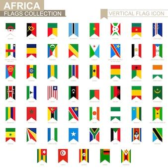Vertikale flaggensymbol von afrika. vektorflaggensammlung der afrikanischen länder.
