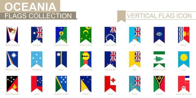 Vertikale flaggensymbol von ozeanien. ozeanische länder vektorflaggensammlung.