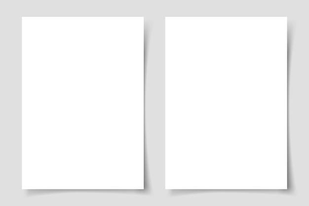 Vertikale flyer mit schatten auf grauem hintergrund. vorlage für flyer oder karte