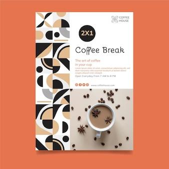 Vertikale flyer-schablone der kaffeepause