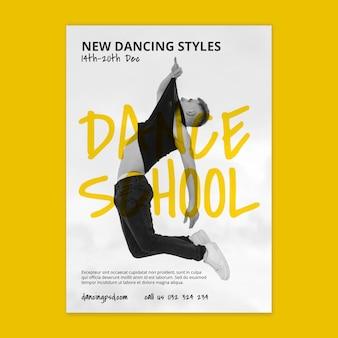Vertikale flyer-schablone der tanzschule mit männlichem tänzer