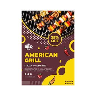 Vertikale flyer-schablone des amerikanischen grills