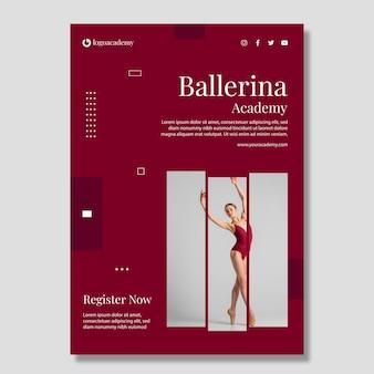 Vertikale flyer-vorlage der ballerina-akademie